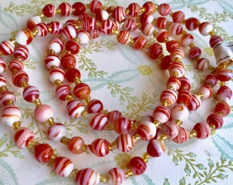 6mm Vintage Glass Beads, Beaded Necklace, Red Swirl beads,Glass Bead Necklace Red Swirl Beaded Peppermint Candy NWT (1304)