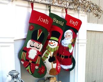 Whimsical Nutcracker or Cute Snowman Tuffed Velvet Children's Christmas Stockings Embroidered ...