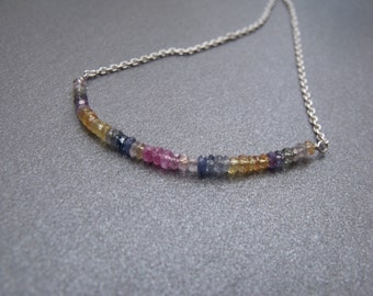 Multi Coloured Sapphire Faceted Rondelle Gemstone Sterling Silver Bar Chain Necklace Sapphire Gemstone beaded Necklace
