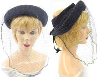 1940s Navy blue Felt Hat With Large Veil - Dramatic Blue 40s Hat // Colby - Open Crown