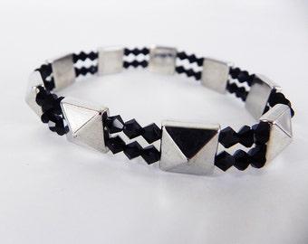 Stretch Bracelet Boho Punk Silver Pyramids and Black Crystals