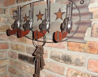 pistal hook wood wall decor coat rack hooks texas ranch style wall decor barbed wire wild - Western Wall Decor