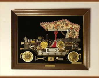 Unique Wall Art,  1914 Cadillac, 3D Metal, Large, Framed, 5 Lbs., OOAK, Signed, Vintage 1978