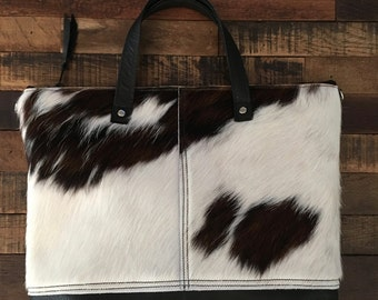 Large Hair on Hide Tote with Removable Shoulder Strap