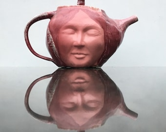 Teapot Face Sculpture Meditation Art Buddha Serving Vessel Pink Glazed Porcelain Ceramics