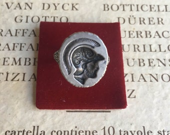 Centurian Signet Seal Ring Roman Motif Museum Replica Sterling 925 Neoclassical Style Wax or Ink Stamp