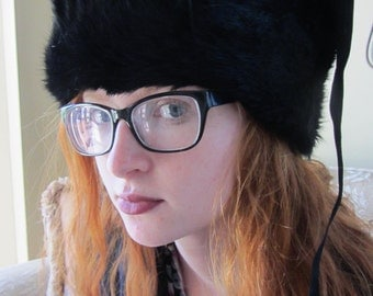 VINTAGE Black Fur USHANKA Russian Ear Flap Hat Adult by Dobbs