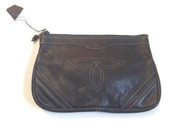 Vintage Leather Clutch Purse, Western Stitch Design. boho 70s