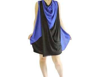 Sassy Dress...Sleeveless Neon Blue & Black Stretch Cotton Mix Polyester Sundress Tunic Dress Jumper Dress