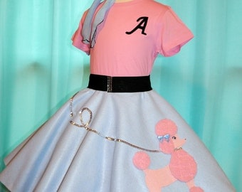 Gorgeous Girls Baby blue and Pink Felt Poodle skirt or 3pc Outfit, Your choice of Size S,M,L,XL!