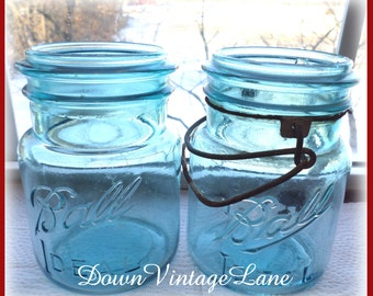 2 SHABBY Blue Ball Ideal Jars PINT Size