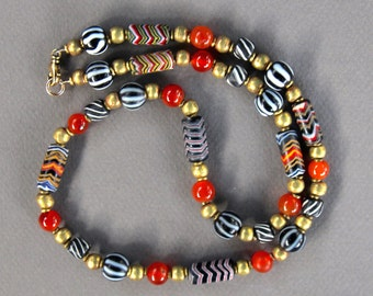 Colorful Indonesian Glass Necklace Black White Stripes and Chevrons Artisan Glass Beads Ethnic Boho Jewelry