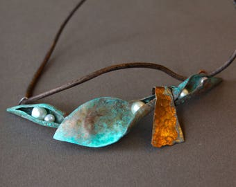 Large Verdigris Copper Pods Pendant w Trapped Pearls Rustic Distressed Copper Fold Form Metalwork OOAK on Leather Cord