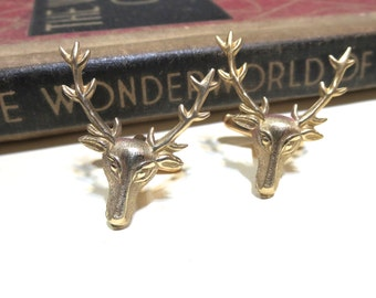 Raw Brass Deer Cuff Links - stag Cufflinks - Buck cuff links - Hunting - Gifts for Him - Wedding - Unique Gift - Reindeer cuff links
