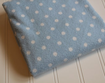 Blue Polka Dot Flannel Fabric - Robert Kaufman - Prewashed