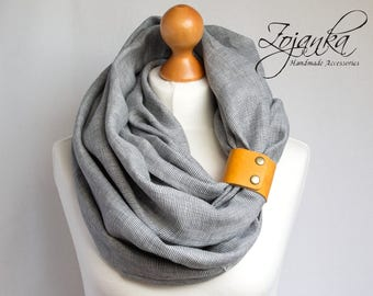 LINEN Infinity Scarf tube scarf with cuff, natural linen scarf, gift ideas, FASHION infinity SCARF, Christmas gift ideas for her