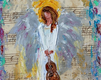 Angel of Music painting Original oil portrait abstract palette knife impressionism on canvas fine art by Karen Tarlton