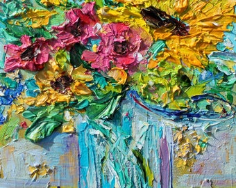 Flowers in a Mason Jar painting original oil 6x6 palette knife impressionism on canvas fine art by Karen Tarlton