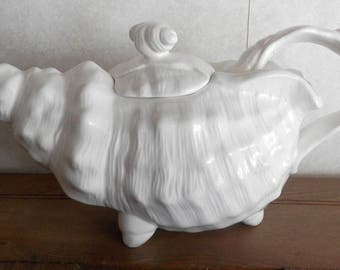 conch shell style tea pot, beach, cottage, lake front, vintage