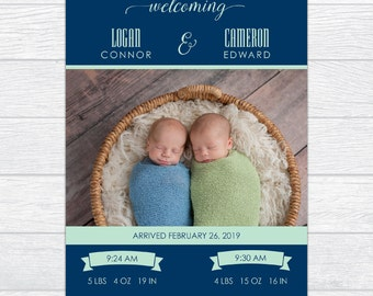 Twin Boy or Girl Printable Birth Announcement Card, Newborn Twin Navy & Seafoam Announcement Card, New Twin Baby Announcement Photo Card
