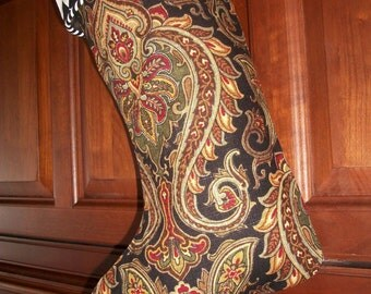 One (1) Amazing Sophsticated Black and White and Black Paisley Designer Christmas Stocking 2017 Collection