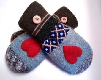 Crazy Heart mittens, gray, blue, orange, medium mittens, recycled sweaters, women's mittens, fleece lined mittens