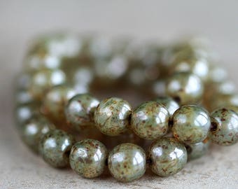 8mm Sage Green Czech Glass Druk Beads, Glass Round Beads, Picasso druk beads (25pcs) NEW