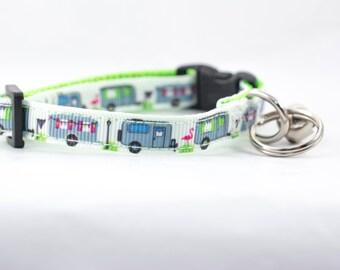 """Camper Cat Collar - 3/8"""" wide - rustic Cat Collar - breakaway cat collar - safety buckle cat collar - camping cat collar - lime collar"""