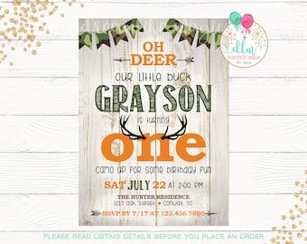 Deer Birthday Invitation, 1st Birthday Invite, Boy Birthday, Little Buck, Camo, Rustic, First Birthday, Deer Party, DIY Printable Invite