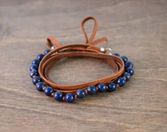Lapis Lazuli & Leather Wrap Bracelet / Choker / Long Necklace