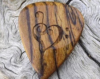 Wood Guitar Pick - Premium Quality - Handmade With Mexican Bocote - Laser Engraved On Each Side - Actual Pick Shown - Artisan Guitar Pick