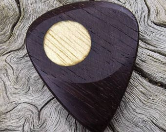 Wood Guitar Pick - Premium Quality - Handmade From Brazilian Ebony With Avodire Wood Dot Inlay - Actual Pick Shown - Artisan Guitar Pick