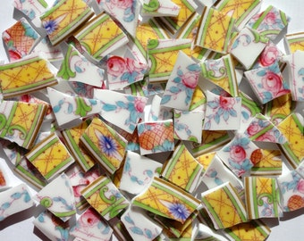 85 Yellow Pink Blue Green Vintage China Mosaic Tiles//Broken Dish//Mosaic Supplies//Pieces//Discount Mosaic Tiles