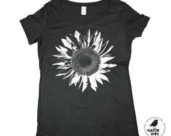 Flower Shirt - Boho Shirt - White Sunflower -  Bamboo - Organic Cotton - In Small, Medium, Large and Extra Large - Clothing