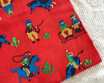 Vintage Cotton Cowboy Fabric Red Western Desert Horses Old West