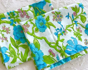 PAIR Vintage 1970's Standard Size Pillowcases Blue Floral on Blue