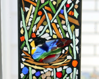 Mosaic-  Bird on a nest -Stained Glass SunCatcher or wall Decoration
