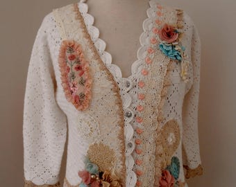 altered couture white cotton upcycled crocheted cardigan shabby chic vintage lace size 12 AU