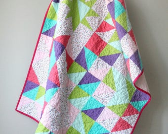 Modern Baby/Toddler Quilt, Triangles, Star, Pink and Purple, Nursery Bedding, Aqua and Lime Green, Baby Girl, Polka Dots, Handmade Quilt