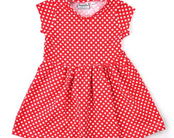 Play dress | Red Polka Dots | Sizes 3 Months to 7/8 | 2 Sleeve Options | dress, girls dress, baby girl dress, baby dress