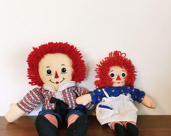 Vintage Raggedy Andy and anne dolls