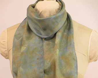 "Silk Scarf - Indigo Willow - Eco Gift for Her - Blue-Green Brown -  HA8121608 - 8""x70"" (20 x 177cm)"