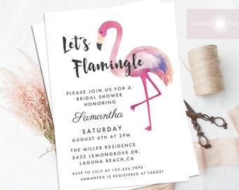 Flamingo Bridal Shower Invitation, Let's Flamingle, Bridal Shower Invite, Watercolor Flamingo Invite, Printable, Digital File, jadorepaperie