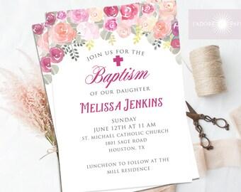 Baptism Invitation Printable, Baptism Invitation Girl, LDS Baptism Invite, Christening, Cross, Floral Baptism Invite, Rose,  jadorepaperie