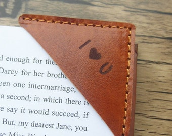 Brown Leather Bookmark, Personalized Bookmark, Engraved Leather Book Corner, Booklover gift