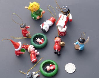vintage wood Christmas figures ornaments lot