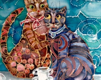 Cat couple painting, Silk painting, cat face paint, cat lovers gift, Housewarming gift idea. Original painting on silk, ( 9 x 6.5 ) inches