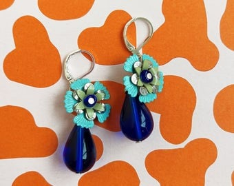 Blue Flower Earrings, Blue Statement Earrings, Birdesmaid Drop Earrings, Pinup Glam Earrings