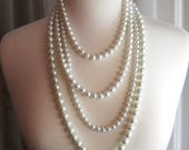 Multistrand Pearl Necklace, Unique Long Pearl Necklace, Chanel Inspired Pearl Necklace, Pearl Statement Multi Strand