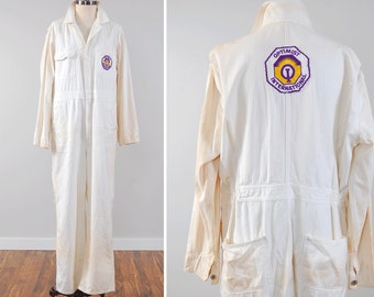 Vintage Penneys Big Mac herringbone coveralls with OPTIMIST INTERNATIONAL patches / 1950s white twill coveralls / Size 42R